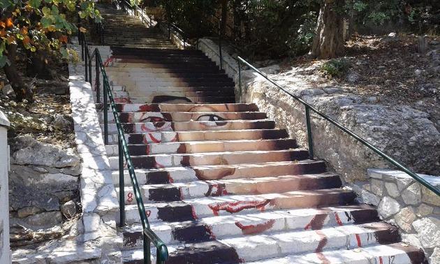 В Хайфе на широких ступенях появился портрет Спинозы и это только начало нового проекта