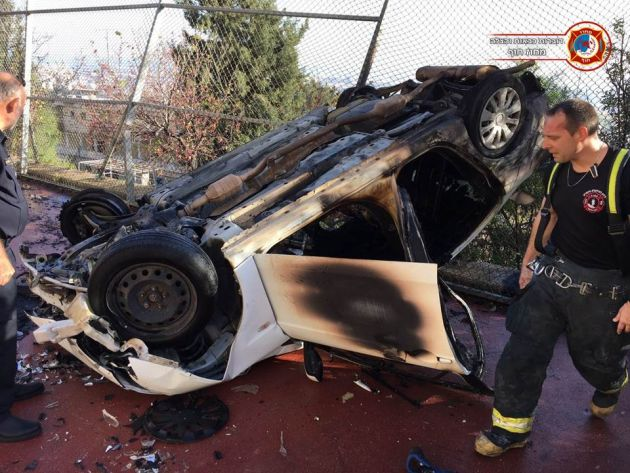 Неве-Йосеф: автомобиль, ехавший по улице, упал с большой высоты