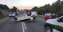 На окраине Хайфы перевернулся автомобиль